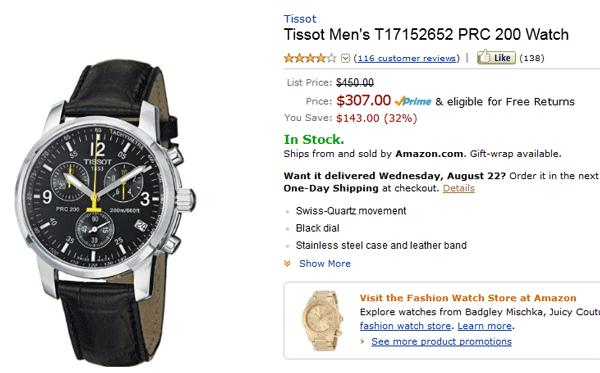 đồng hồ sale off trên amazon