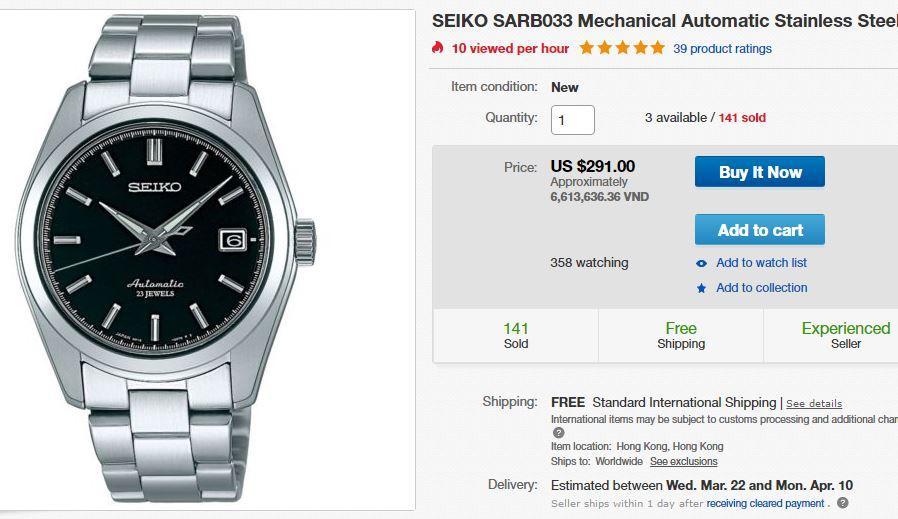 đồng hồ trên ebay