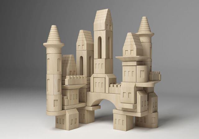 Bộ đồ chơi lắp ghép lâu đài bằng gỗ