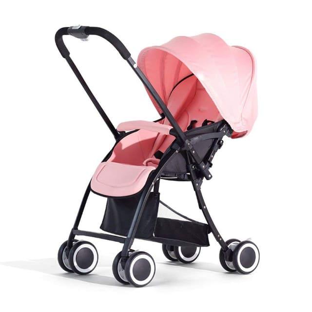 Xe đẩy có mái che màu hồng cho bé gái