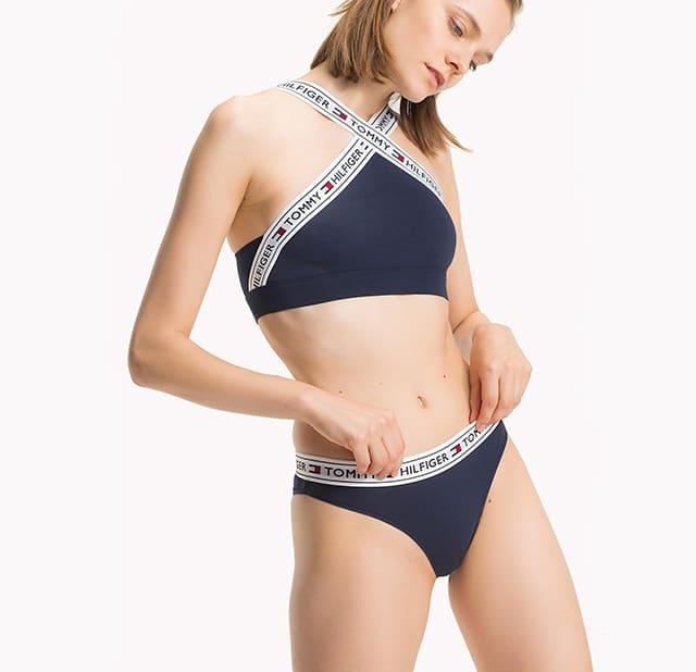 Bộ Underwear Cross Halter Logo Bralette