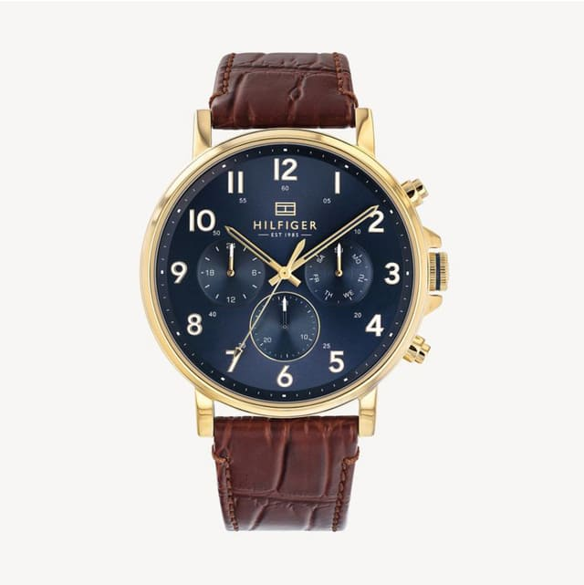 DRESS WATCH WITH LIGHT BROWN CROC LEATHER STRAP