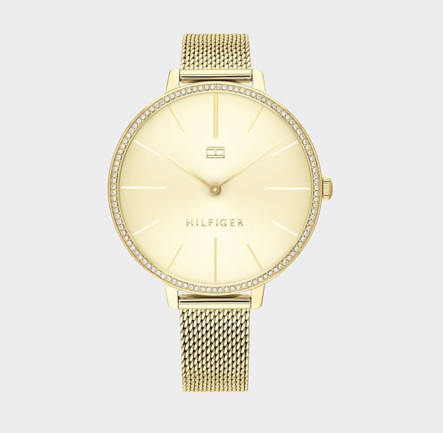 GOLD MESH DRESS WATCH WITH PAVE CRYSTALS