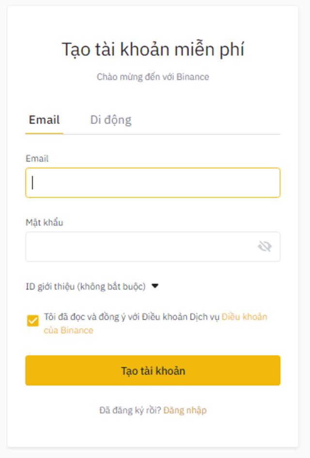 Điền đầy đủ thông tin khi đăng ký tài khoản Binance