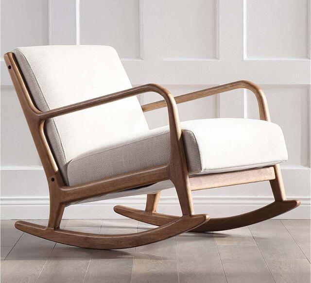 Ghế bập bênh thư giãn đệm bọc vải khung gỗ êm ái