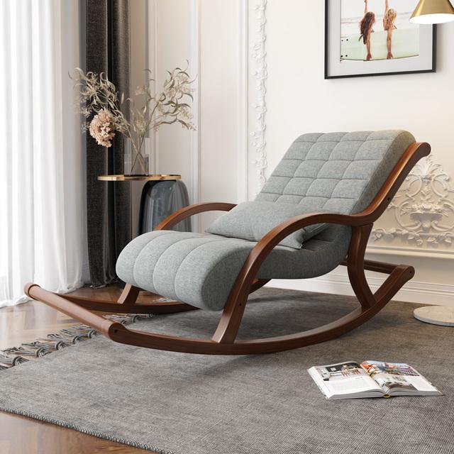 Ghế bập bênh thư giãn khung gỗ đệm mềm