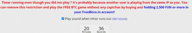 Hệ thống thời gian trên Freebitco.in