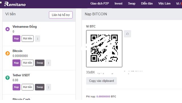 Cách nạp Bitcoin trên sàn Remitano