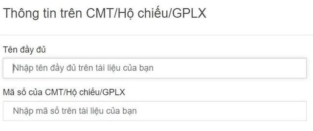 Nhập thông tin trên CMT/Hộ chiếu/GPLX