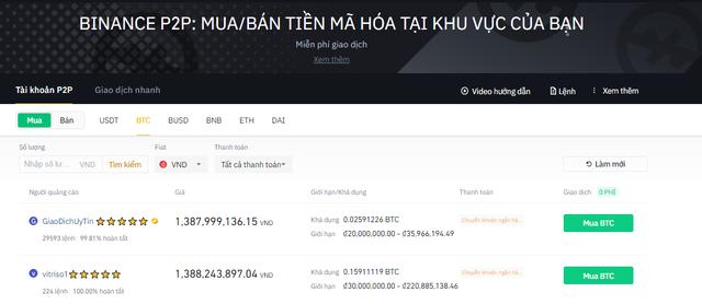 Click chọn mua Bitcoin
