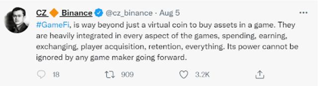 Dòng tweet của CZ - CEO binance